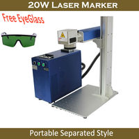 Free DHL 20W Fiber Laser Marking Machine Rotary Axis Engraver Portable Seprated Style For Metal Marking