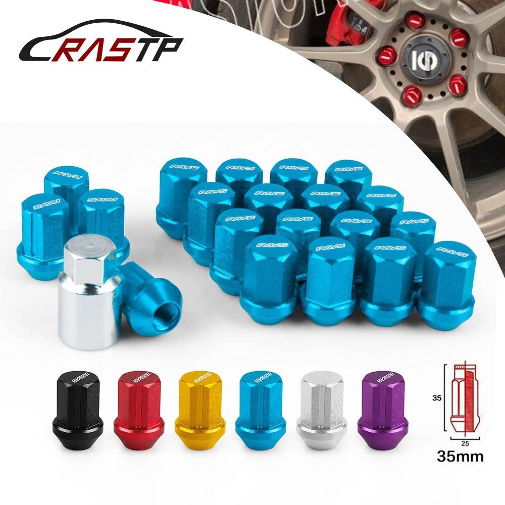 RAGGI VOLK Bloccaggio delle Ruote Dadi In Lega di Alluminio Performace Corse Lug Nuts Lunghezza 35 MM 12x1.5/1.25 RS-LN005
