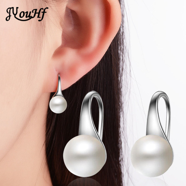 JYouHF Hot Sale 8mm Pearl Earrings for Women Pusety White Gold Color Wedding Party Stud Earrings Female Bijoux Earings Wholesale