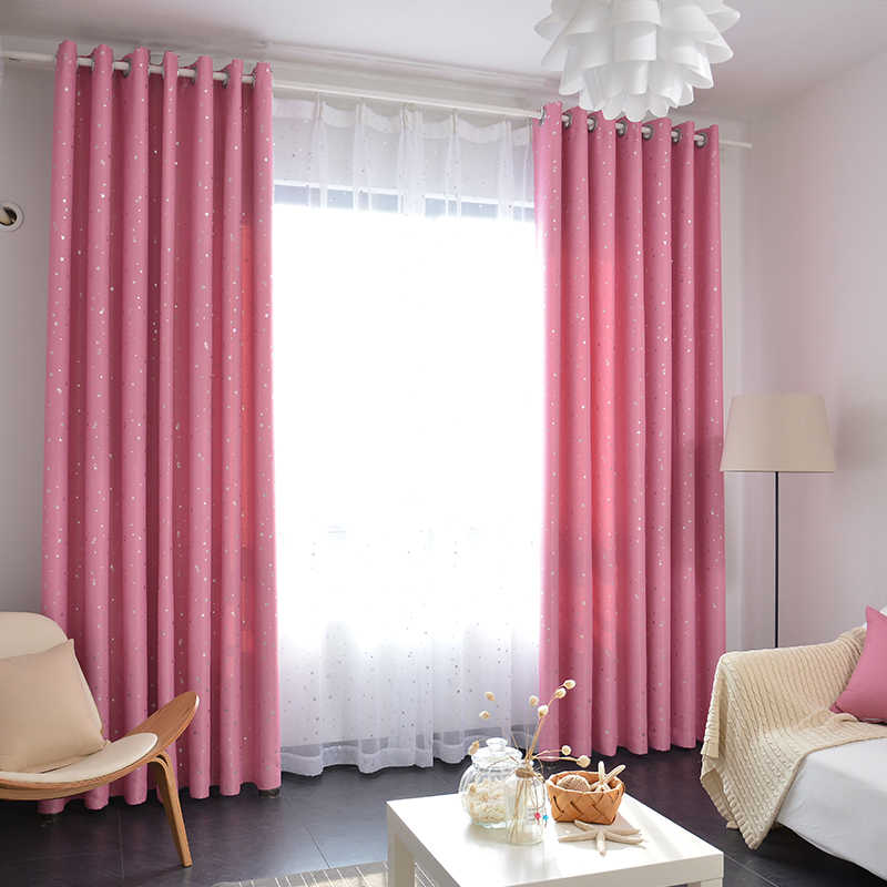 Stars Print Blackout Navy Curtains and Sheer Drapes for Kids Room Pink White Sheer Voile Curtains for Bedroom Customized WP1233