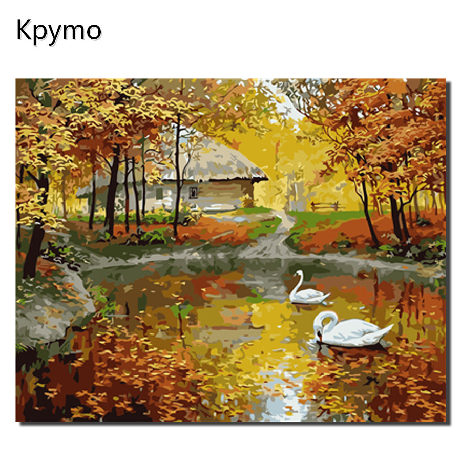 Framed Fall Autumn Painting By Numbers On Abstract Wall Art  Kit Hand Painted Picture By Number Decoration Paintings Mushroom