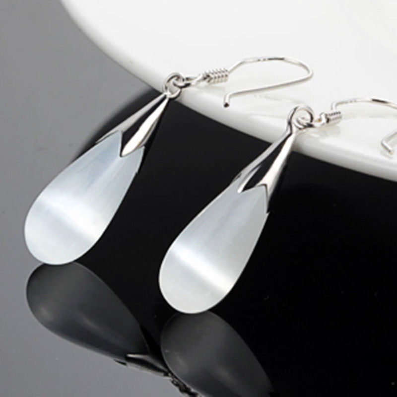 Hot selling> NEW Sterling Silver smooth White Opal Cat's Eye Stone Drop Earring style Fine jewe Noble Natural stone FRE -Br