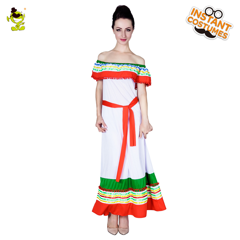 a1ce50dacafb9 2017 Mexico Wome Costume Adult Polyester White Cosplay Fancy Party ...