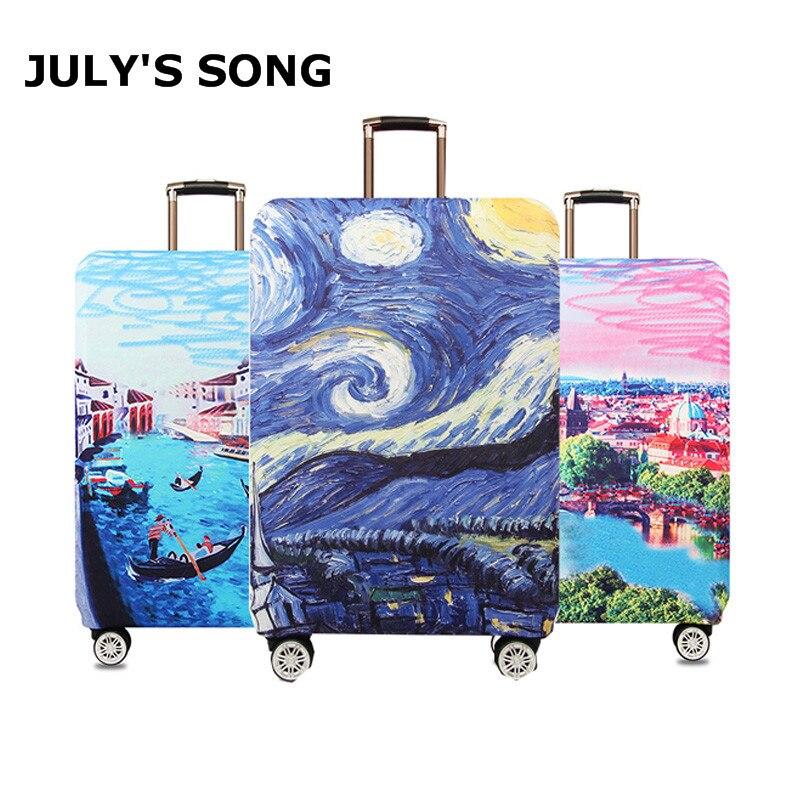 Noche Estrellada diseño equipaje fundas de protección elástico carro maleta de viaje bolsas de el polvo y la lluvia de los casos por 18 a 32 pulgadas accesorio