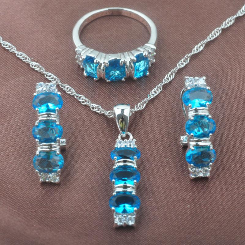 Brautschmuck Sets Schlussverkauf 2019 Neue Himmel Blau Zirkon Frauen 925 Silber Schmuck Sets Halskette Anhänger Stud Ohrringe Ringe Freies Verschiffen Tz0159