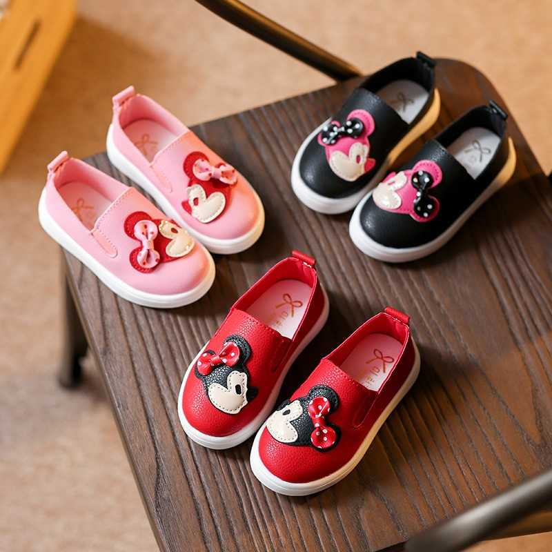 25% Spring autumn Children girls Pu shoes Girls Shoes Flat casual Shoes with Minnie head 21-30 pink red black A520 TX05 ...