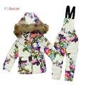 Conjunto de Roupas de inverno para Meninos Das Meninas de Flores Para Baixo Casaco + Macacão Ternos Snowsuit Criança Crianças Terno De Esqui à prova de Vento Quente Sintepon