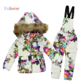 Winter Clothing Set for Boys Girls Flowers Down Coat +Overalls Suits Warm Windproof Snowsuit Toddler Children Ski Suit Sintepon