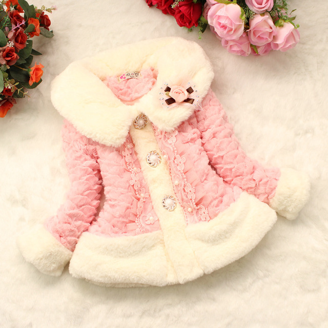 2017 new fashion velvet bow baby warm coat, baby coat jacket Leather grass, spring and autumn thicken baby jacket