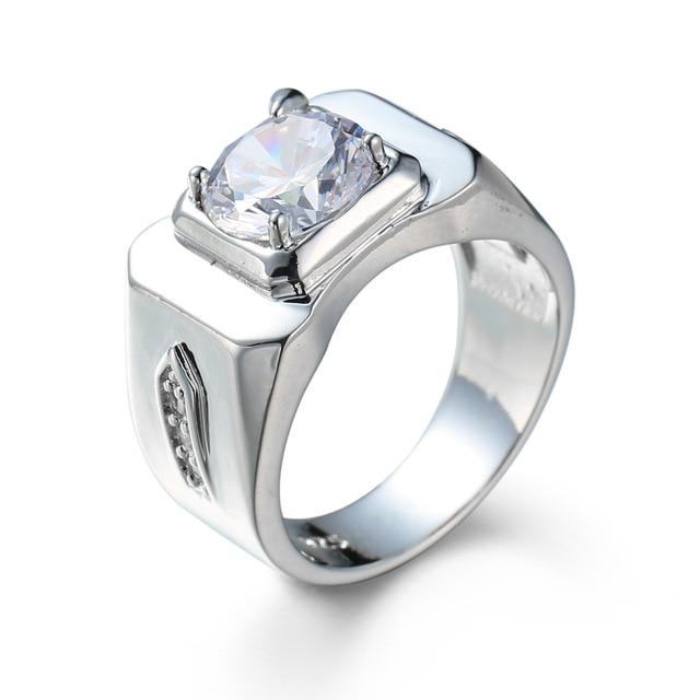 Trendy Zirconia Engagement Rings For Men Luxury Jewelry Wedding