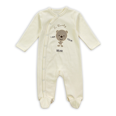 Fashional 100% Da Menina do Algodão Do Bebê Do Menino Pijama Bonito do Urso de Manga Longa Jumpsuits & Rompers Recém-nascidos Roupa Do Bebê Hot 0-12 M