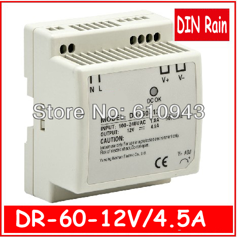 DR-60W-12V  LED Din Rail mounted  Single Output Switching power supply for LED SMPS AC to DC ac dc dr 60 5v 60w 5vdc switching power supply din rail for led light free shipping