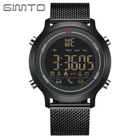 Fashion Brand GIMTO Men S Sport Watches Black Stainless Steel 3ATM Waterproof Smart Watch For Men