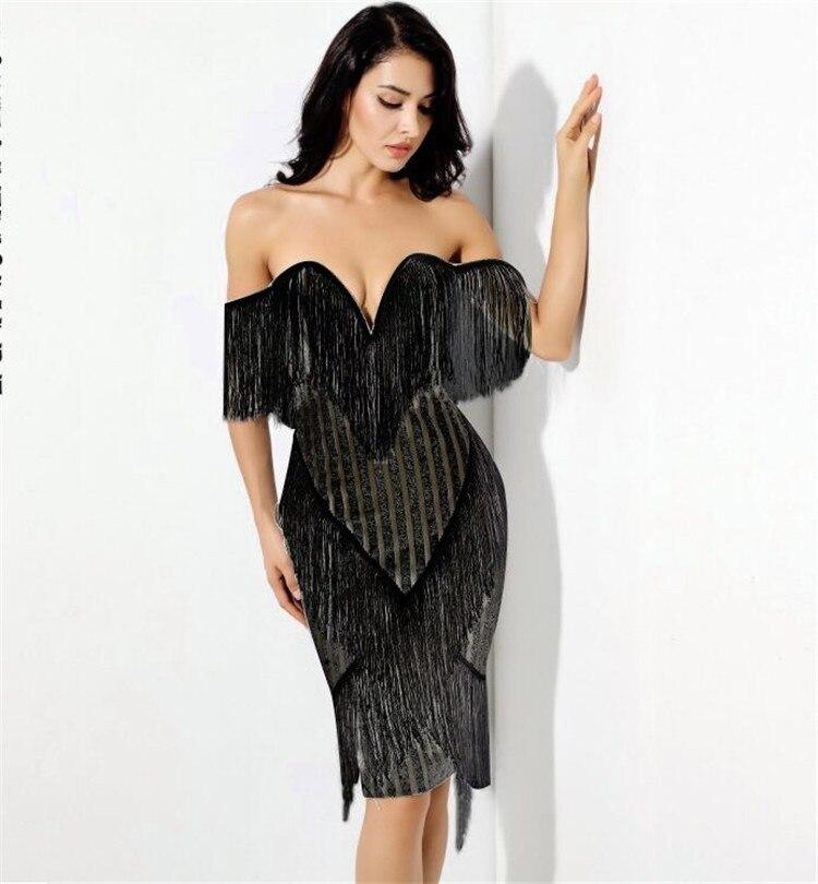 See Orange Bling Bling Beading Black Dress Women Sexy Slash Neck Empire Party Dress Female SO7847 3