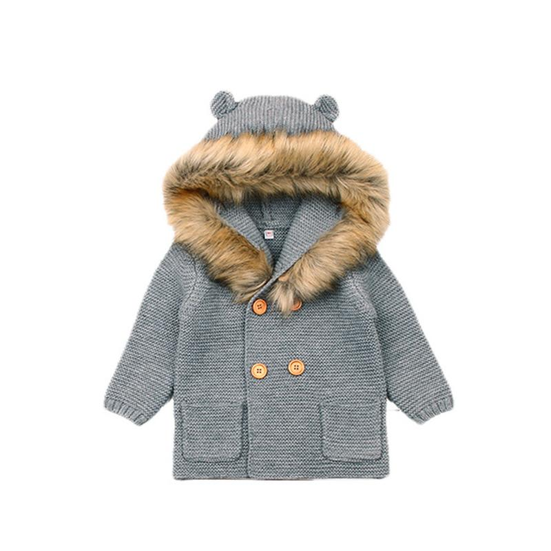 Children Long Sleeve Fur Collar Coat Cute Bear Ears Knitted Baby Clothes Baby Long Sleeve Hooded Sweater Cardigan Sweater