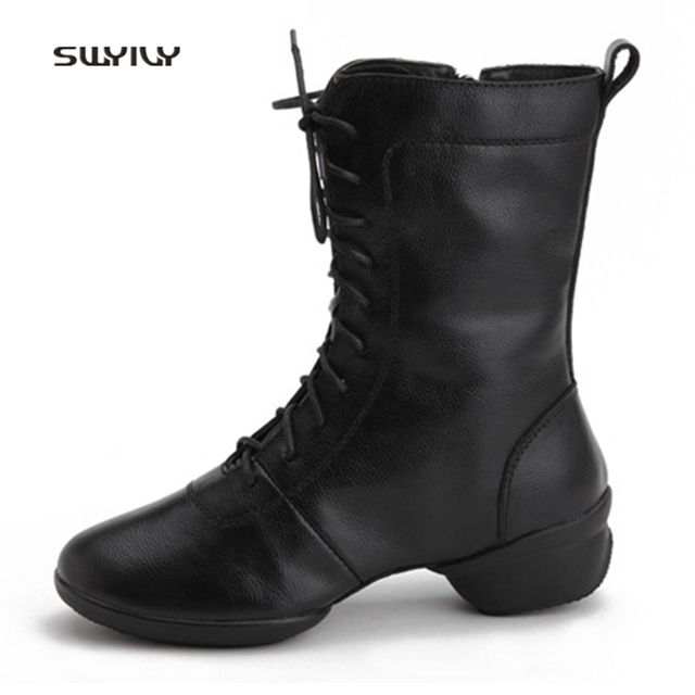 SWYIVY Women Dance Shoes Genuine Leather Breathable Sneakers 2018 Lace-up Square Dance Shoes Soft Heel Female Modern Dance Shoes