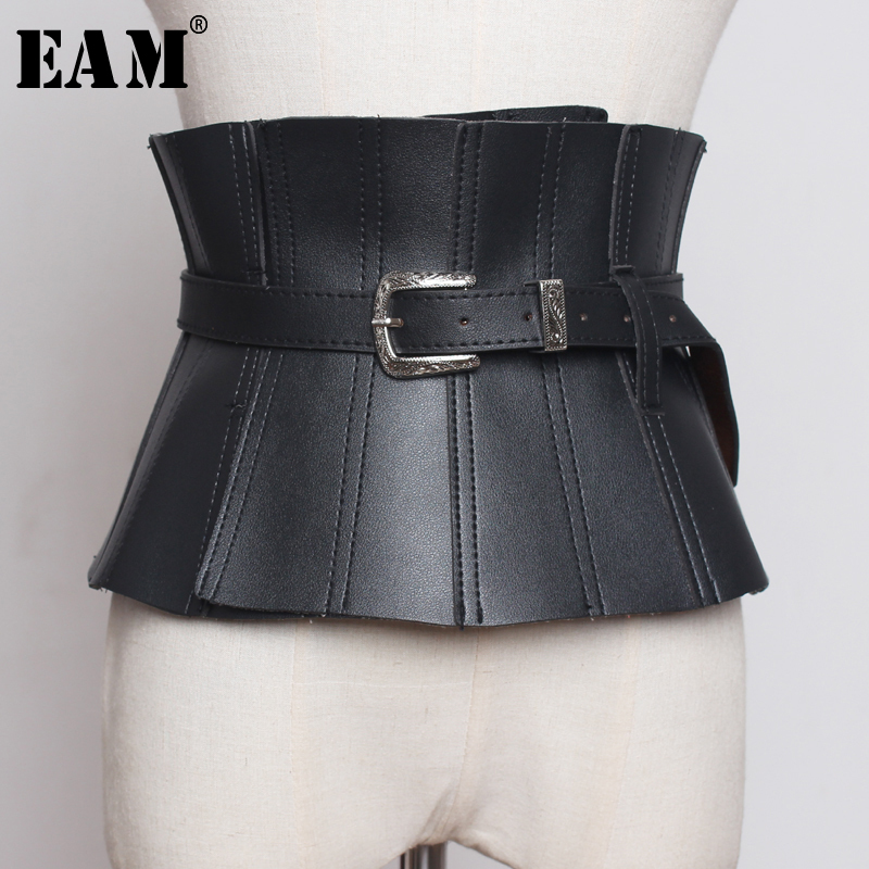 [EAM] 2019 New Spring Summer Pu Leather Black Ruffles Buckle Split Joint Personality Wide Belt Women Fashion All-match JW179