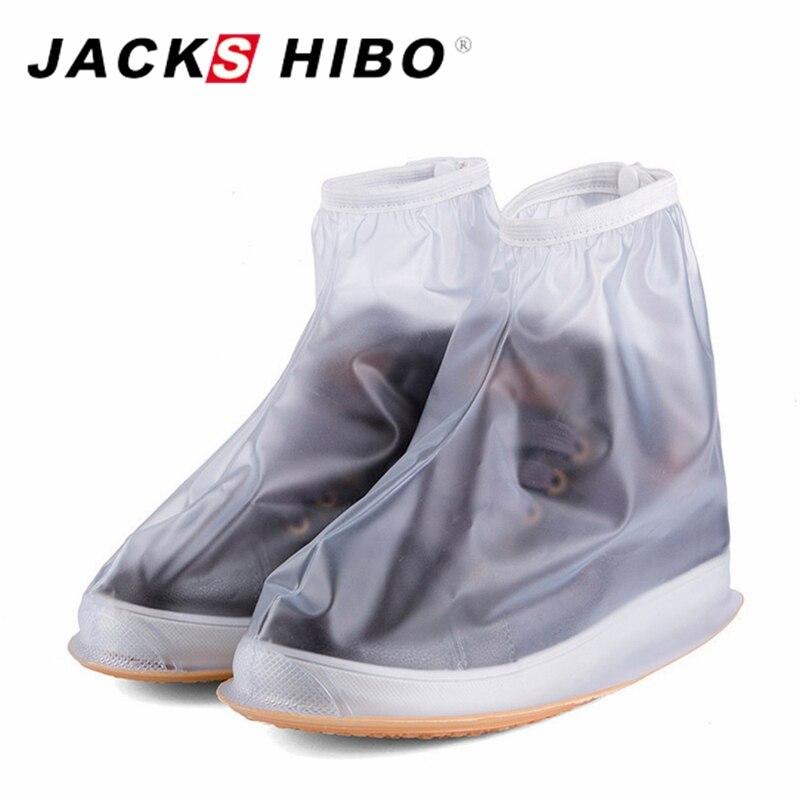 JACKSHIBO Waterproof Rain Reusable Shoes Covers Slip-resistant Zipper Easy Wear Rain Boot Overshoes Men&Women's Shoe Accessories reusable plain solid shoe covers simple women men waterproof shoe covers rainproof slip resistant overshoes