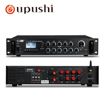 Bluetooth pa amplifier audio 120w, 240w, 360w usb sd card power amplifier 5 zone mixer digital stereo preamplifier with speakers