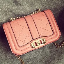 2016 Fashion Women Messenger Bags Lady's Crossbody Bag Pink Ladies Handbags High Quality PU Leather Small Chain Bags BG247