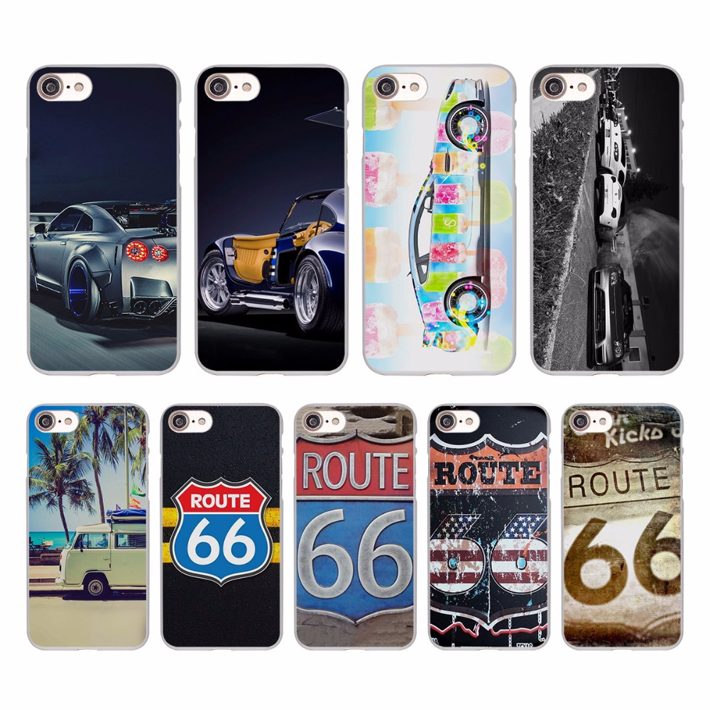 Винтаж ROUTE 66 GT-R спортивный автомобиль путешествия Дизайн Жесткий Белая кожа чехол для Apple iPhone SE 5 5S 5C 7 7 Plus 6S 6 plus