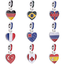 Colorful DIY Beads Arrow Baby Boy Dog National Flag Leaves Enamel Beads Fit Pandora Charms Bracelets Trinket Jewelry for Women(China)