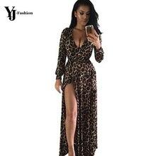 YJ Fashion High Slit Maxi Dress Women Leopard Printed Sexy Summer Dress 2016 Deep V-Neck Long Sleeve Elegant Party Dresses Boho sexy u neck sleeveless printed high slit maxi dress for women