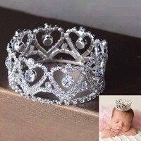 Rhinestones Full Circle Mini Corona de La Tiara accesorios de Fotografía Recién Nacido Bebé Bebé Pelo de la Corona Accesorios de La Joyería de Cristal Redondo