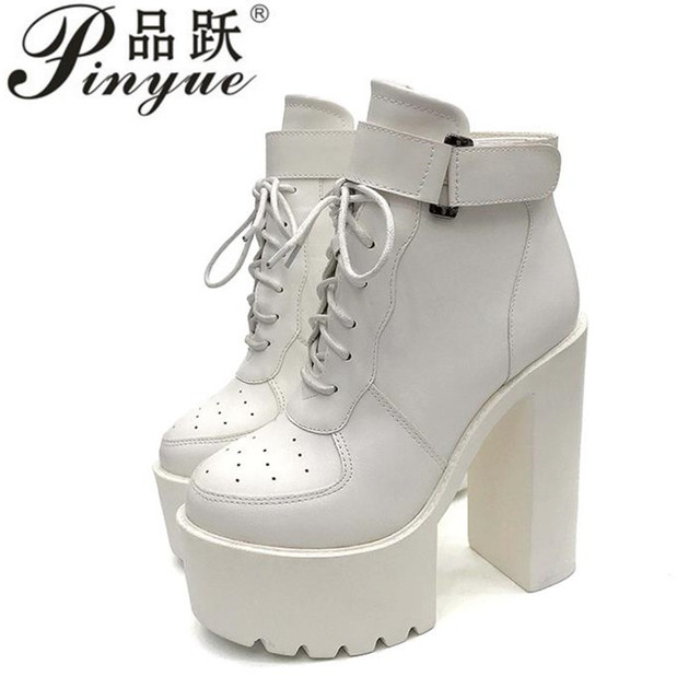a64741ab618 US $29.99 30% OFF| Hot Sale Russian Shoes Black Platform Boots Women Zipper  Autumn High Heels Shoes Lace Up Ankle Boots White Rubber Sole-in Ankle ...