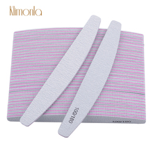 50pcs/lot 100/180 Grits Nail Sanding File Buffing Polish Block Half Moon Polishing Files Pedicure Manicure Salon Tools