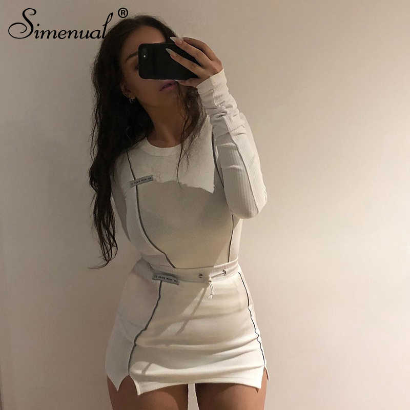 Simenual Casual Fashion Reflective Striped Two Piece Outfits Women Long Sleeve Top And Mini Skirt Sets 2019 Autumn White Set New