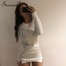 Simenual Casual Fashion Reflective Striped Two Piece Outfits Women Long Sleeve Top And Mini Skirt Sets 2020 White Matching Set cheap REGULAR Above Knee Mini O-Neck Drawstring spandex Polyester NONE Full YBDS1734266
