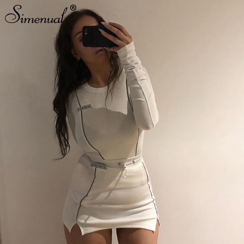 Simenual Casual moda reflectante a rayas de dos piezas trajes de mujer de manga larga Top y Mini falda conjuntos 2020 blanco conjunto a juego