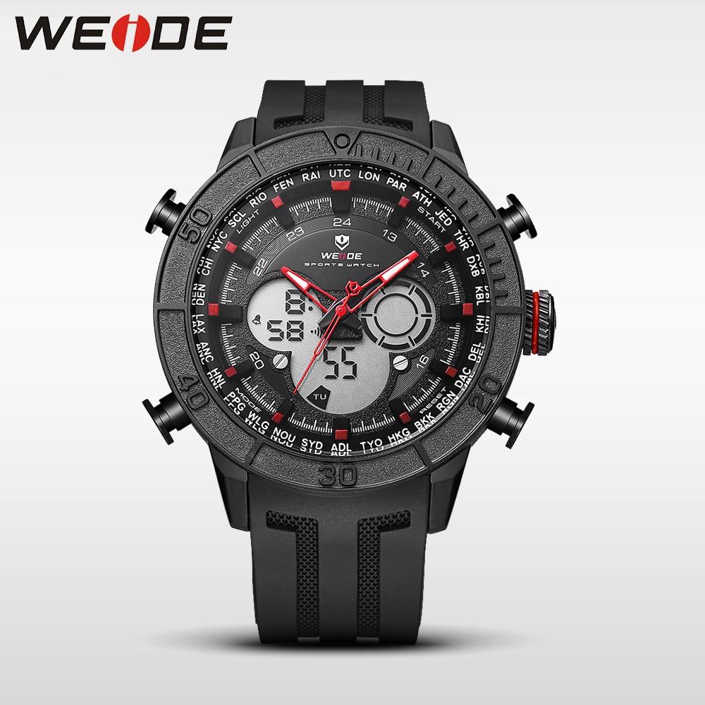 WEIDE genuine luxury brand analog sport watch digital led clock men Silicone quartz waterproof watch electronic wrist Army clock цена и фото