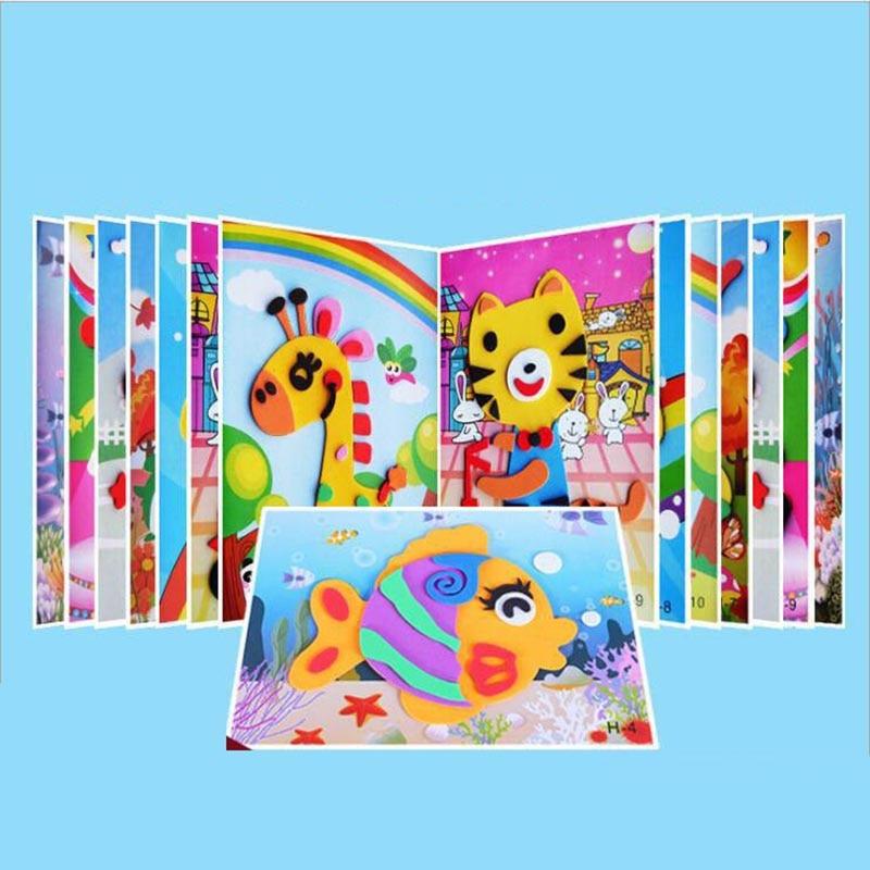 10 designs/lot DIY Cartoon 3D EVA Foam Sticker Puzzle Series Kids Multi-patterns Styles Toys for Children Birthday Gift 6