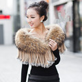 Luxury Women's Fashion Raccoon Fur Shawls with Rabbit Fur Tassels Female Pashmina Autumn Wraps
