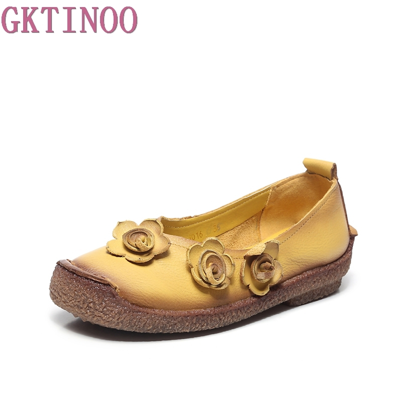 GKTINOO Femmes Chaussures Printemps Véritable Cuir Plat Chaussures Femme Mocassins Main Doux Semelle Confortable Casual Chaussures Femmes Appartements