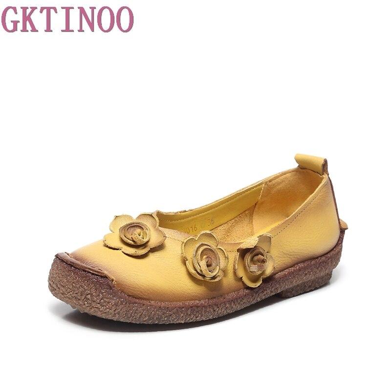 Main Casual Plat Printemps Appartements Femmes Confortable Véritable Doux Semelle Mocassins Chaussures Gktinoo jaune Cuir Marron Femme FqBac8wwS
