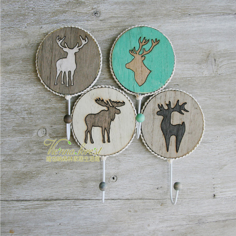 1pc/ Europe Handmade Wooden Reindeer Coat Hooks powerful sticky New-classical wall hook for home decoration