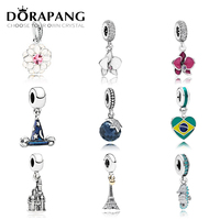 DORAPANG 100 925 Sterling Silver Flower Type Pendant Charm Magic Hat Bead Collocation Bracelet DIY Bracelet