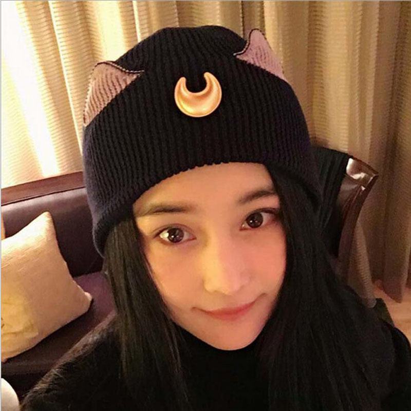 The New Crescent Cat Ears Ears Beautiful Girl Warrior Cartoon Knitting Wool Hat Woman the new children s cubs hat qiu dong with cartoon animals knitting wool cap and pile