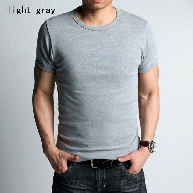 Men 39 s t shirts slim fit solid color stylish o neck short for Slim fit white t shirt