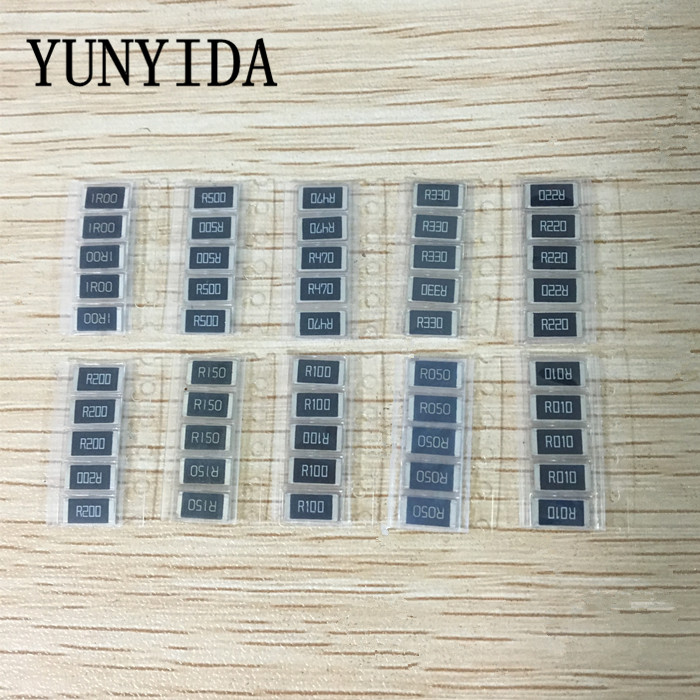 50PCS  1%  2512 SMD Resistor Samples Kit ,10 ValueX5pcs=50pcs 1R00 R500 R470 R330 R220 R200 R150 R100 R050 R010