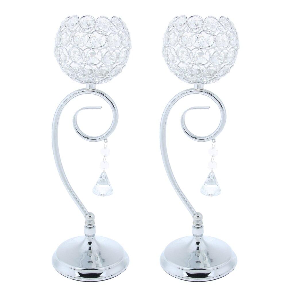 Cristal effet support de bougie chauffe-plat Globe bol mariage Table dessus votif luminaires argent 35 cm 2-set