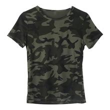 Women Camouflage Printed T-Shirt Short Sleeve O-Neck Slim Tops Cotton Blend Soft