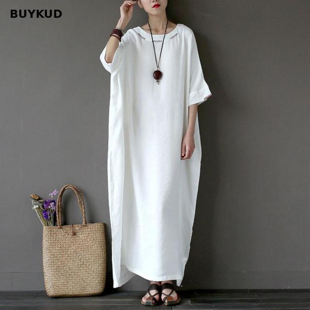 ed1a38bf49 BUYKUD Loose White Maxi Dress Women Casual Cotton Linen Oversize Long Dress  2018 Summer Embroidery Half Sleeve Dresses Plus Size