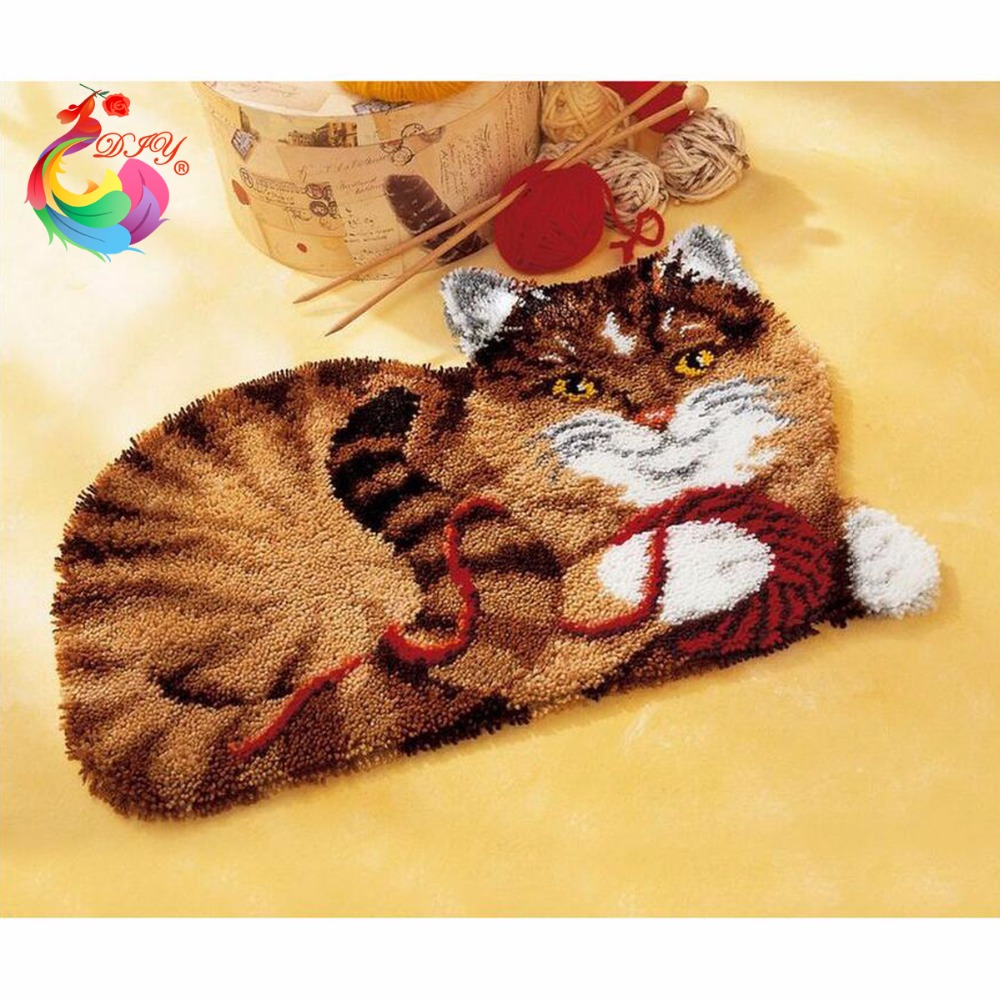 Hook Rug Kit Cartoon Cat broderi DIY DIY Needlework Set Oavslutade Hackning Garn Mat Latch Hook Rug Kit Bild Mattan Set