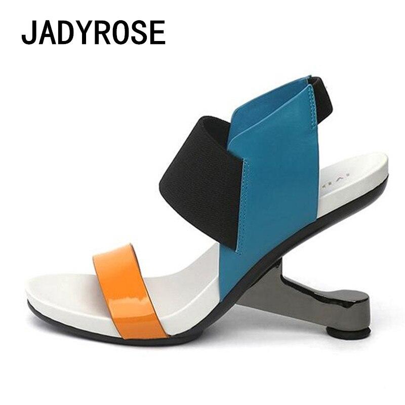 Sandalias Damas Cuña Mujeres Metal Moda Gladiador Mezclado Mujer Zapatos negro Color Para Aguja Verano Apricot 8 De azul Cm rojo Tacones Extraño Playa wfECqnxv