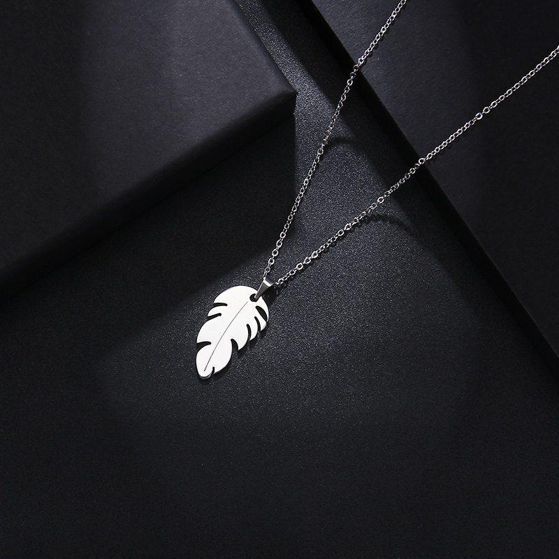 CACANA Stainless Steel Sets For Women Feather Shape Necklace Bracelet Earring Jewelry Lover's Engagement Jewelry S379 12