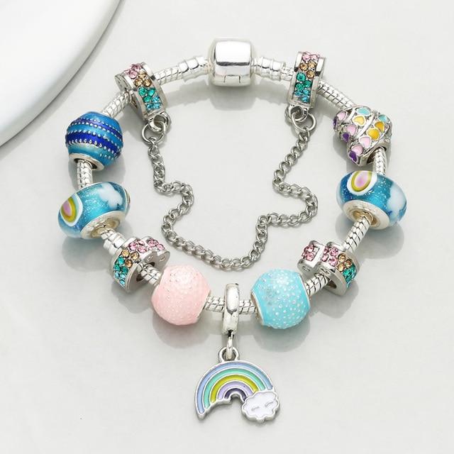 a678b1f33 CHIELOYS Rainbow Pendant Charm bracelet Europe Fashion Murano Glass Beads Pandora  Bracelets for Women DIY Jewelry Pulseras BA037